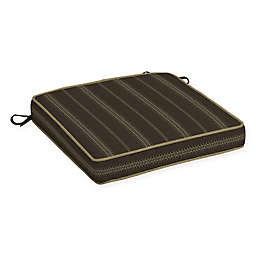 Bombay® Trevor Stripe 21-Inch x 21-Inch Outdoor Seat Cushion in Espresso