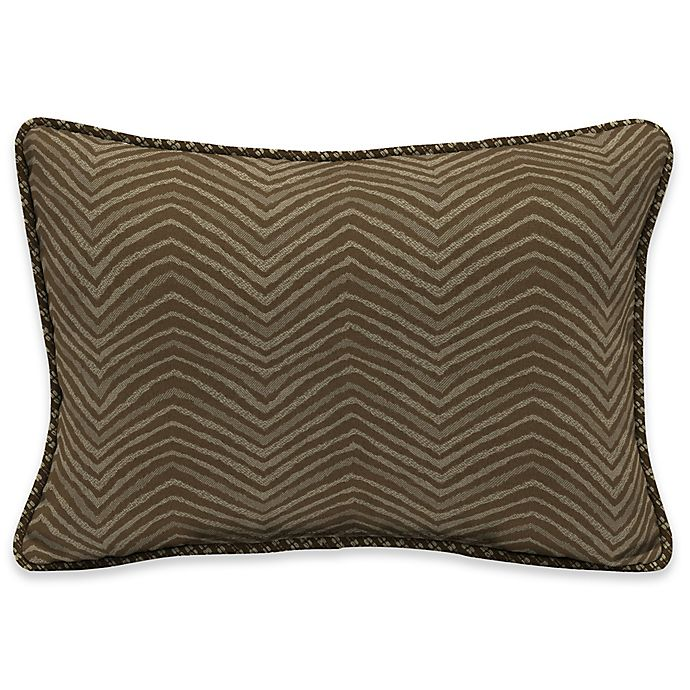 Alternate image 1 for Bombay® Zebra 15-Inch x 22-Inch Outdoor Oversize Lumbar Pillow with Welt in Tan