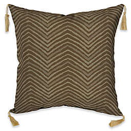 Bombay® Zebra 16-Inch Square Outdoor Throw Pillow with Tassels in Tan