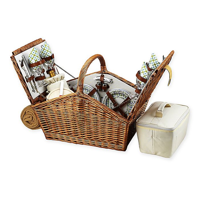 Alternate image 1 for Picnic At Ascot Huntsman Basket for 4 with Blanket in Gazebo