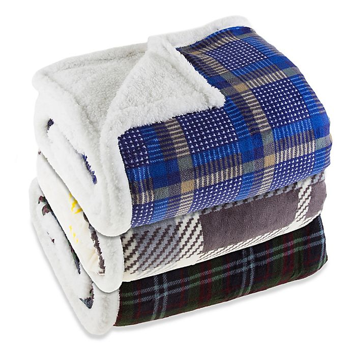 Alternate image 1 for Plaid Fleece Sherpa Throw Blanket