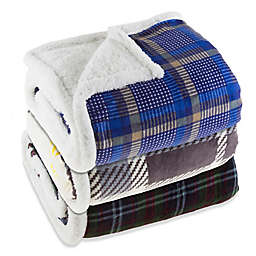Plaid Fleece Sherpa Throw Blanket