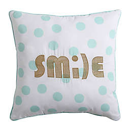 VCNY Inspire Me Smile Square Throw Pillow in Mint/Gold