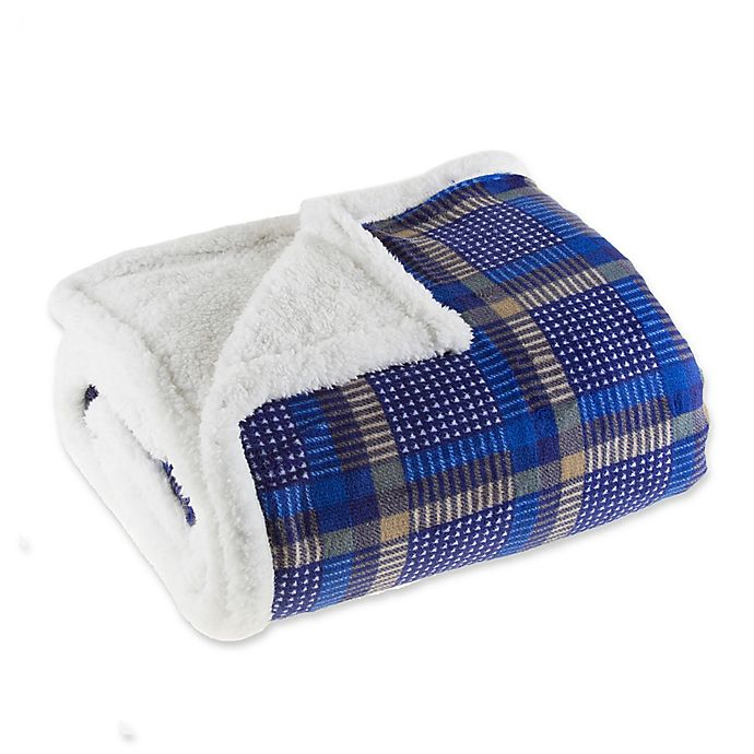 Alternate image 1 for Plaid Fleece Sherpa Throw Blanket in Blue/Yellow