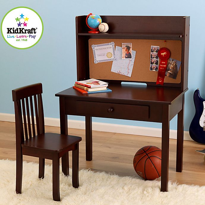 Alternate image 1 for KidKraft® Pin Board Desk & Chair in Espresso