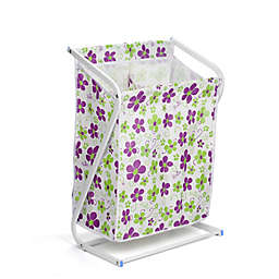 Bonita Z-Forma Purple Blossoms Laundry Sorter in White