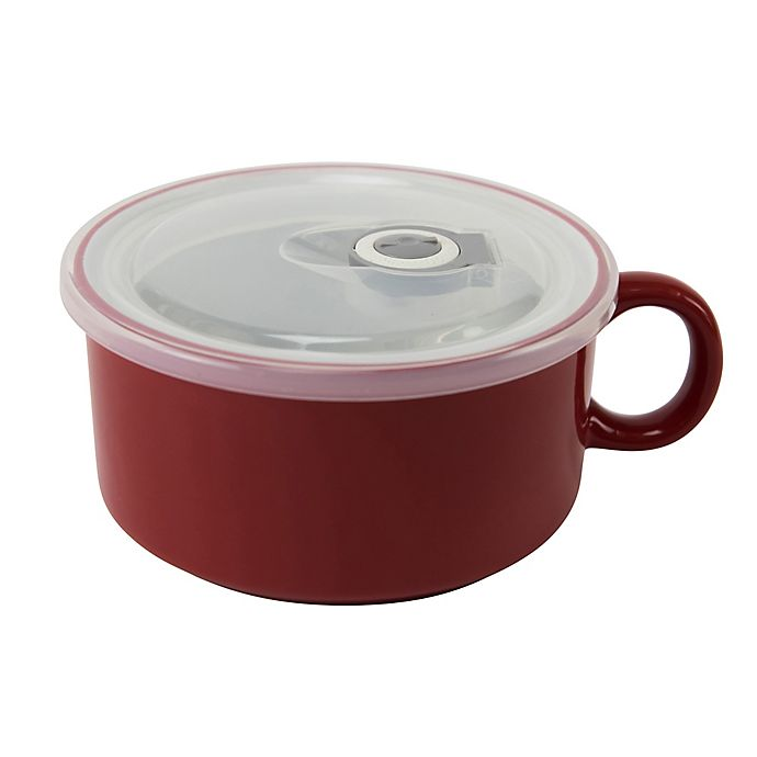 Alternate image 1 for Boston Warehouse Soup Mug with Vented Lid in Red