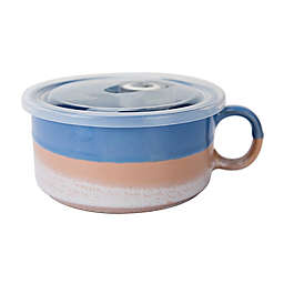 Boston Warehouse Tricolor Soup Mug with Vented Lid in Blue/Peach/White