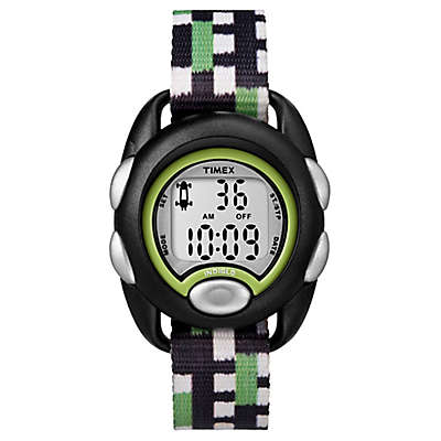 Timex® Time Machines Children's 34mm Digital Watch in Black with Green/Black/White Strap