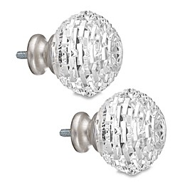 Cambria® Classic Complete Fractured Facets Finial in Brushed Nickel (Set of 2)
