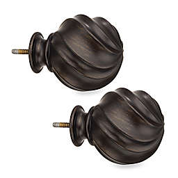 Cambria® Elite Twist Ball Finials in Matte Brown (Set of 2)