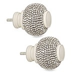 Cambria® Premier Complete Twinkle Ball Finials in Satin White (Set of 2)