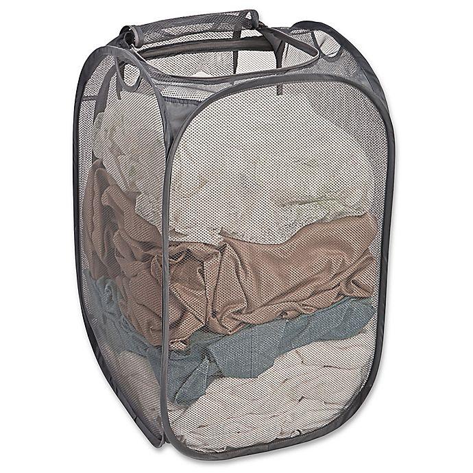 Alternate image 1 for Smart Design Pop-Up Flip Hamper and Basket in Grey