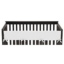 Sweet Jojo Designs Minky Dot Long Crib Rail Guard Cover in White