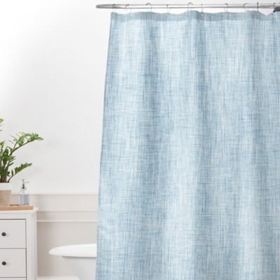 Deny Designs Holli Zollinger Linen Acid Wash Shower Curtain In Blue