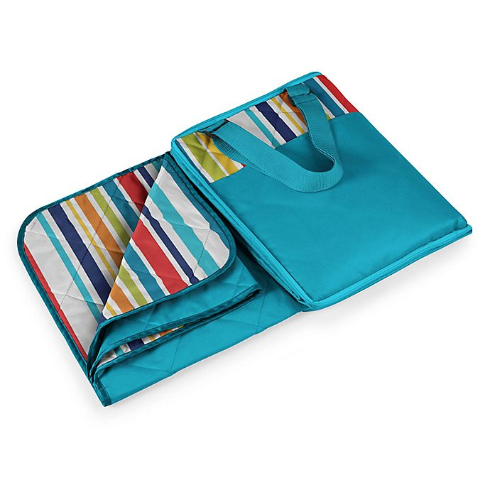Alternate image 1 for Picnic Time® Vista Outdoor Picnic Blanket  in Aqua Blue with Fun Stripes