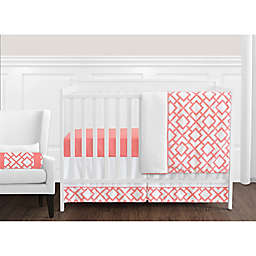 Sweet Jojo Designs Mod Diamond Crib Bedding Collection in White/Coral