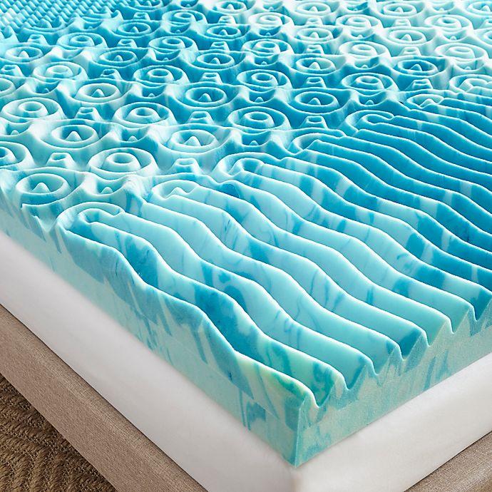 Alternate image 1 for Broyhill 4-Inch King GelLux Gel Memory Foam Mattress Topper in Blue
