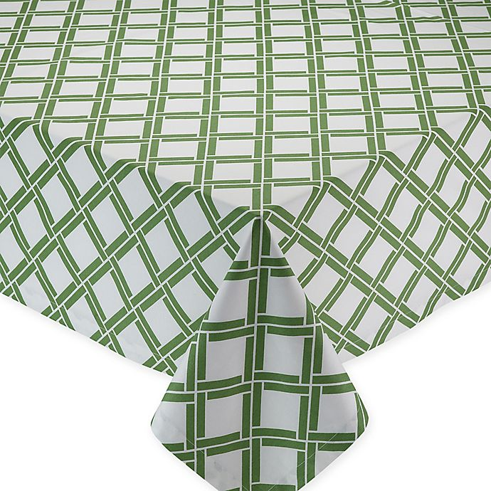 Alternate image 1 for Bamboo-Lattice-Print Tablecloth in Green/ White