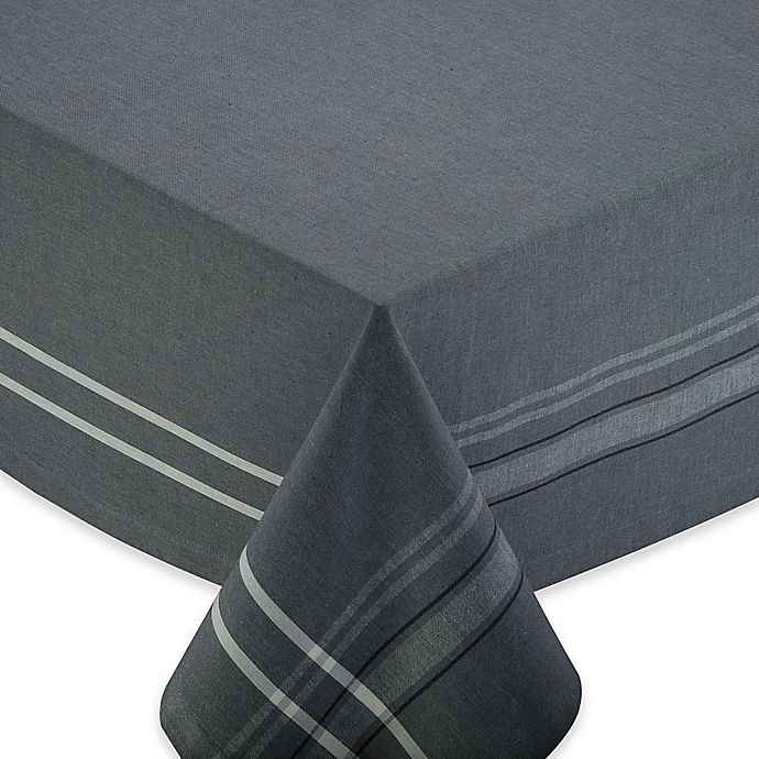 Alternate image 1 for Chambray 60-Inch x 84-Inch Oblong Tablecloth in Grey