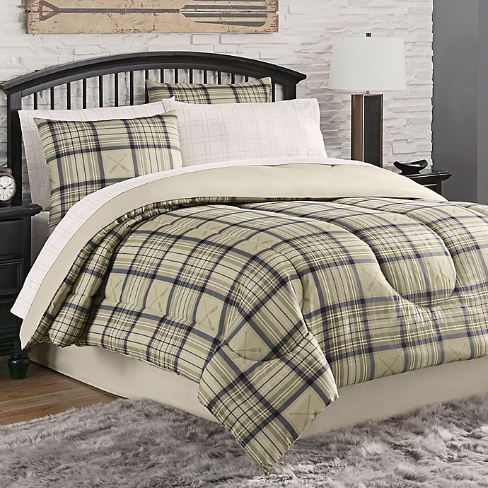 Alternate image 1 for Norfolk Plaid 6-Piece Twin Comforter Set in Tan/Navy