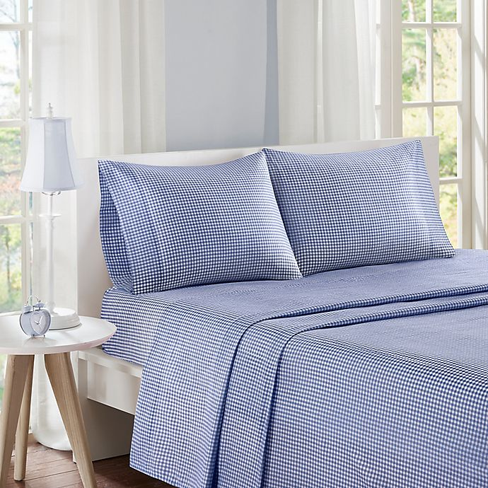 Alternate image 1 for Mi Zone Gingham Twin Sheet Set in Navy