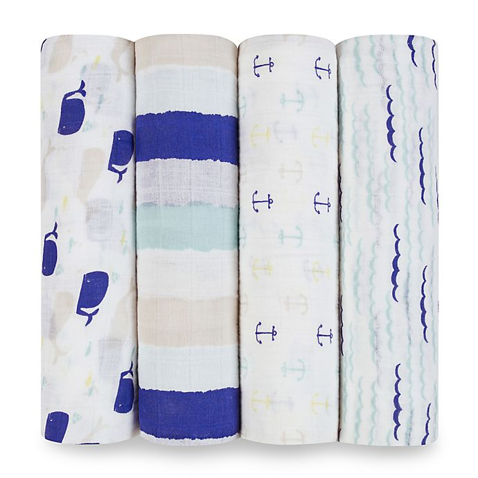 Alternate image 1 for aden® by aden + anais® High Seas 4-Pack Multicolor Classic Muslin Swaddle Blankets