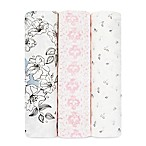 aden + anais® Meadowlark 3-Pack Silky Soft Swaddles in Pink/White