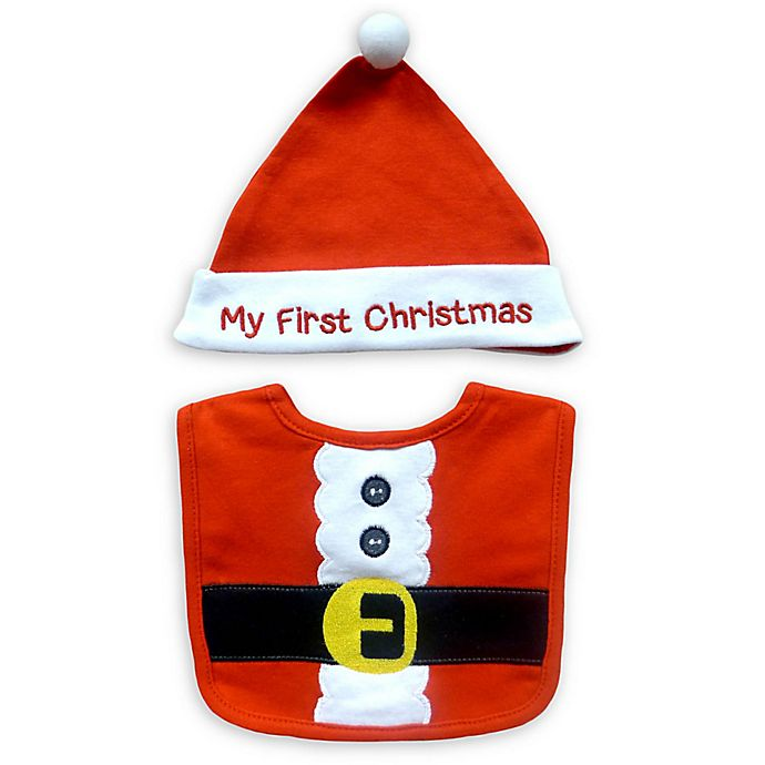 Alternate image 1 for Neat Solutions 2-Piece Christmas Bib and Hat Set in Red