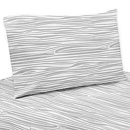 Sweet Jojo Designs Woodland Deer Wood Grain Queen Sheet Set in Navy/White