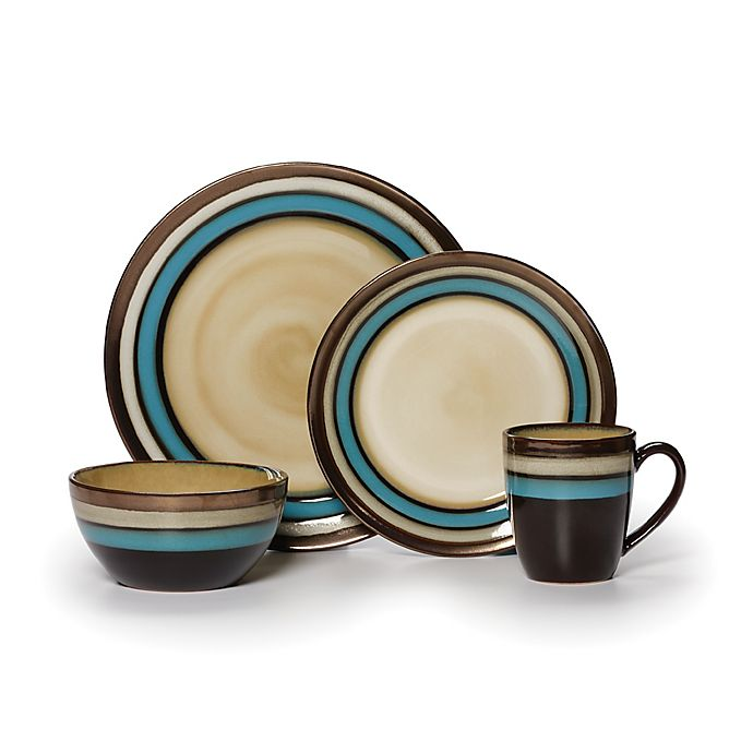 Alternate image 1 for Gourmet Basics by Mikasa® Spector Blue 16-Piece Dinnerware Set