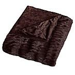 Embossed Faux Mink King Blanket in Chocolate