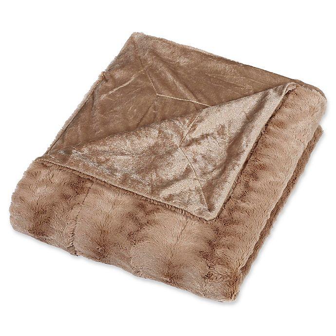 Alternate image 1 for Embossed Faux Mink King Blanket in Tan