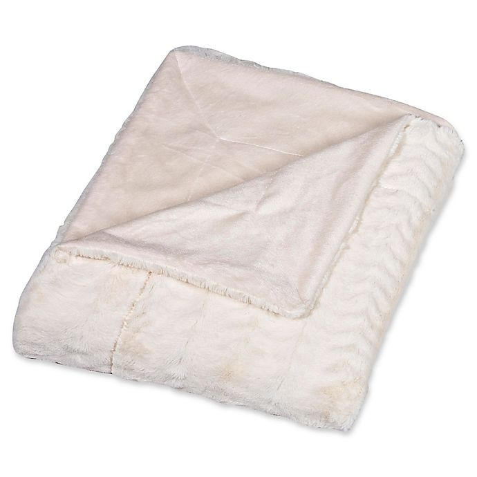 Alternate image 1 for Embossed Faux Mink Twin Blanket in Cream