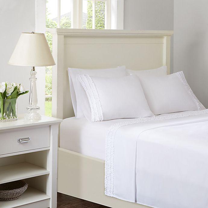 Alternate image 1 for Intelligent Design Ruffled Extra Deep Pocket California King Sheet Set in White
