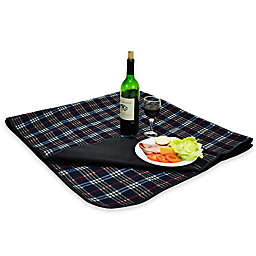 Picnic at Ascot Waterproof Outdoor Picnic Blanket in Blue Plaid