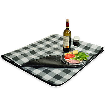 Picnic at Ascot Waterproof Outdoor Picnic Blanket in Charcoal Plaid