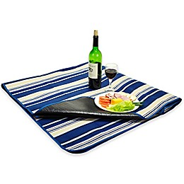 Picnic at Ascot Waterproof Outdoor Picnic Blanket in Blue Stripe