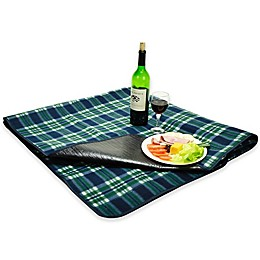 Picnic at Ascot Waterproof Outdoor Picnic Blanket in Green Plaid