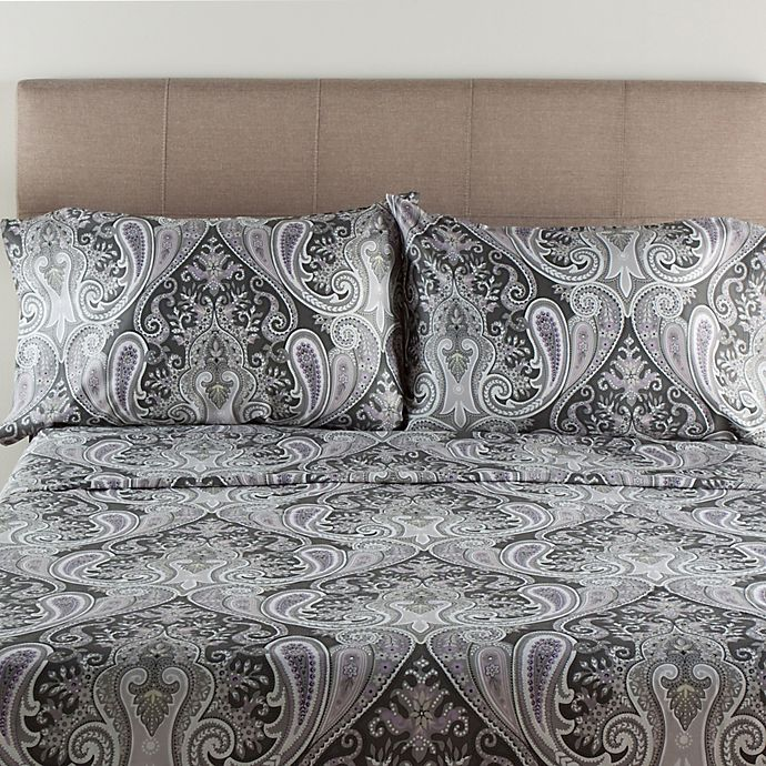 Alternate image 1 for Crystal Palace 300-Thread-Count King Sheet Set in Grey