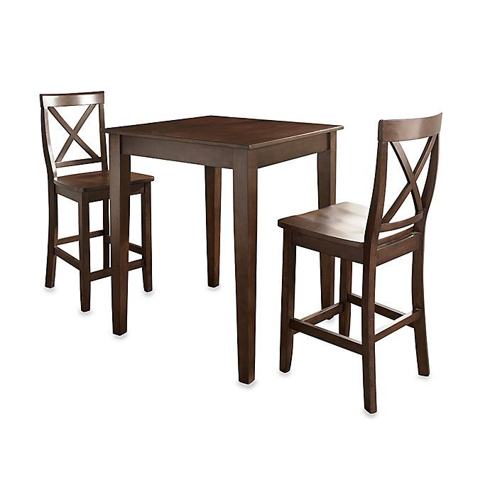 Alternate image 1 for Crosley Pub Dining Set with X-Back Stools and Tapered Legs (3-Piece Set)
