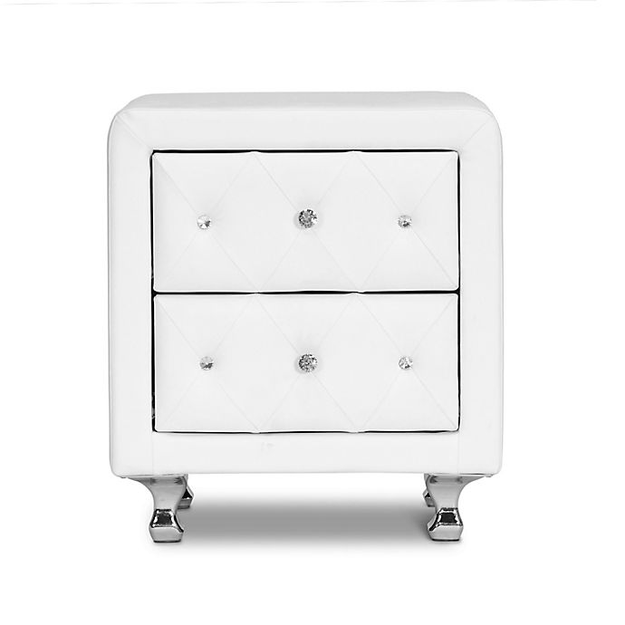 Alternate image 1 for Baxton Studio Stella Crystal Tufted Upholstered Nightstand