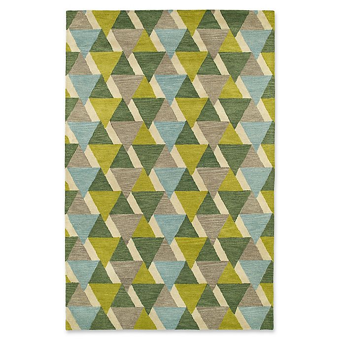 Alternate image 1 for Kaleen Rosaic Triangles 9-Foot 6-Inch x 13-Foot Area Rug in Lime Green