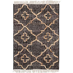 Surya Chilam 2' x 3' Handcrafted Jute Accent Rug in Black/Tan