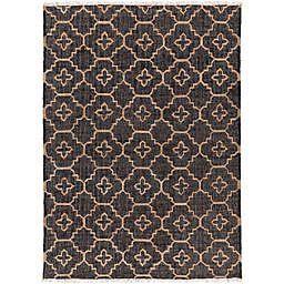 Surya Chilam 6' x 9' Handcrafted Jute Area Rug in Black/Tan