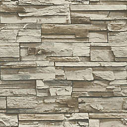 RoomMates Stacked Stone Peel & Stick Wall Decals in Brown