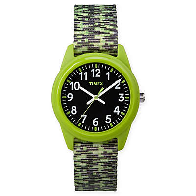 Timex® Our Time Machines™ Children's 32mm Analog Watch w/ Green/Black Nylon Strap