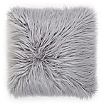 Flokati Faux Fur 18-Inch Square Throw Pillow in Dusty Grey