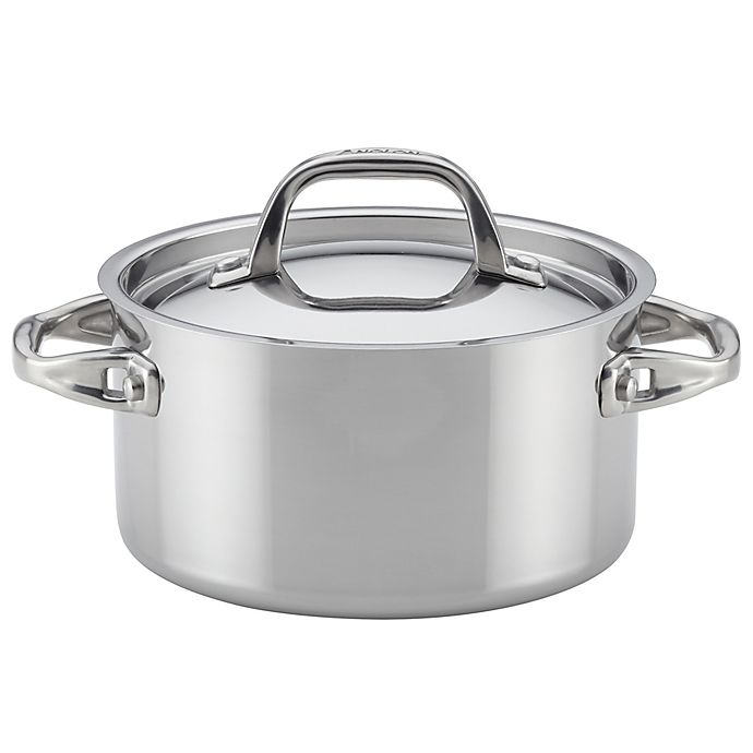Alternate image 1 for Anolon® Tri-Ply Clad Stainless Steel 3.5 qt. Covered Saucepan
