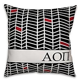 Designs Direct Alpha Omicron Pi Chevron 18-Inch Square Throw Pillow in Black